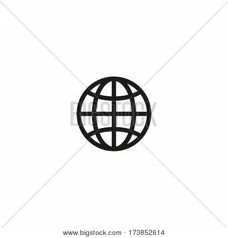 Globe earth symbol isolated on white background vector illustration. Worldwide cargo delivery and shipping service pictogram. International standard black packaging element