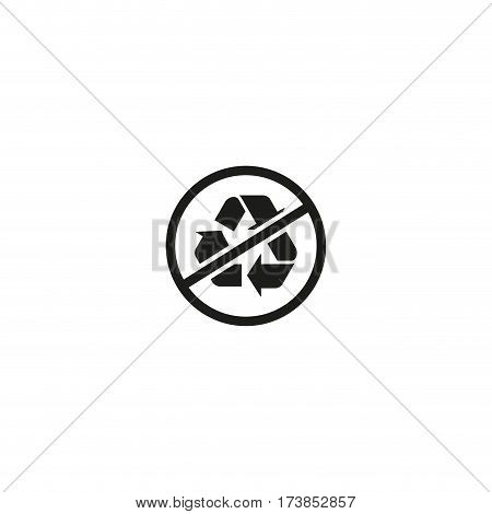 Packaging symbol isolated on white background vector illustration. No recycling symbol, mobius loop, chasing arrows. Indicates that object capable of being no recycled. World standard black pictogram.