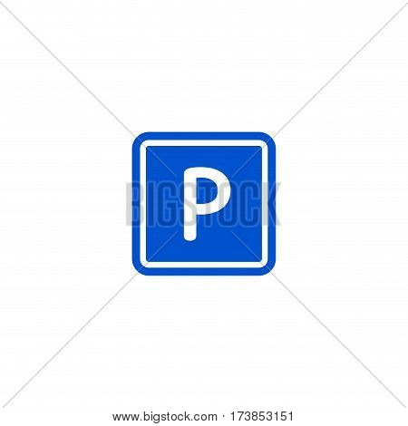Parking zone roadsign isolated on white background vector illustration. Car parking regulation symbol, traffic sign, road information and help, roadway auto service icon