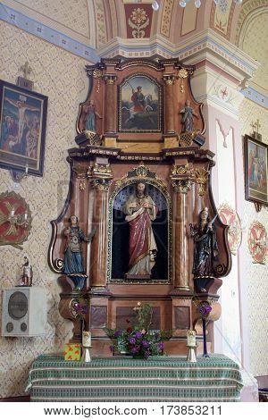MARTINSKA VES, CROATIA - JUNE 03: Sacred heart of Jesus altar in Parish Church of Saint Martin in Martinska Ves, Croatia on June 03, 2011.