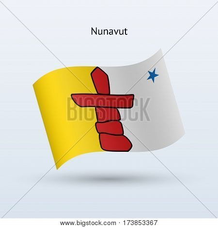Canadian territory of Nunavut flag waving form on gray background. Vector illustration.