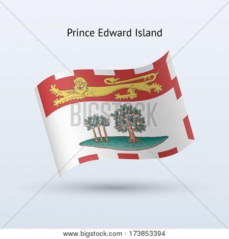 Canadian province of Prince Edward Island flag waving form on gray background. Vector illustration.