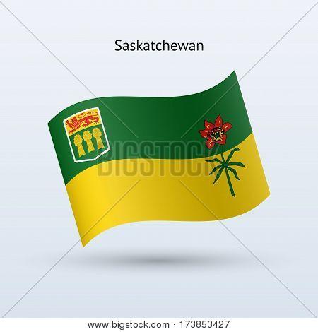 Canadian province of Saskatchewan flag waving form on gray background. Vector illustration.