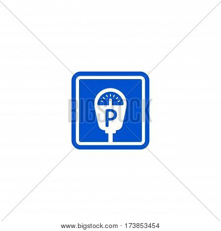 Parking metter roadsign isolated on white background vector illustration. Car parking regulation symbol, parking payment machine sign, road information and help, roadway auto service icon