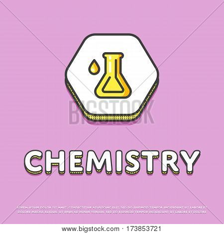 Chemistry colour hexagonal icon isolated vector illustration. Chemical glass test tube symbol. Science lab, scientific research equipment, school subject logo or sign in line design.