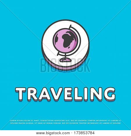 Traveling colour round icon isolated vector illustration. Globe, world map, earth or planet symbol. Worldwide traveling and tourism, globe geography logo or sign in line design.