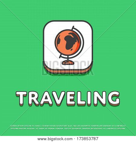 Traveling colour square icon isolated vector illustration. Globe, world map, earth or planet symbol. Worldwide traveling and tourism, globe geography logo or sign in line design.