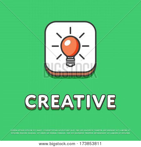Creative colour square icon isolated vector illustration. Light bulb, lamp, idea symbol. Big creative idea inspiration innovation, invention, effective thinking logo or sign in line design.