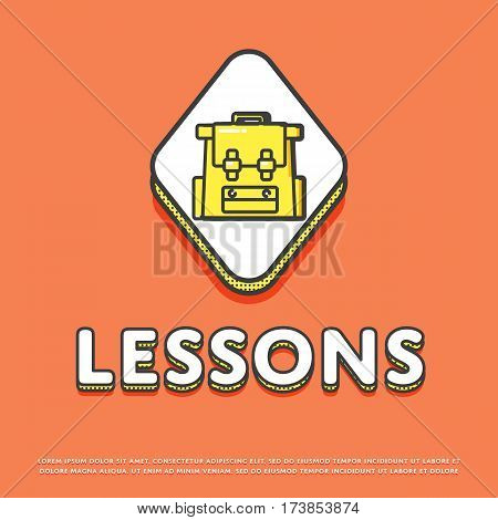 Lessons colour rhomb icon isolated vector illustration. School bag, rucksack, backpack symbol. Learning and education, interactive study, online lessons logo or sign in line design.