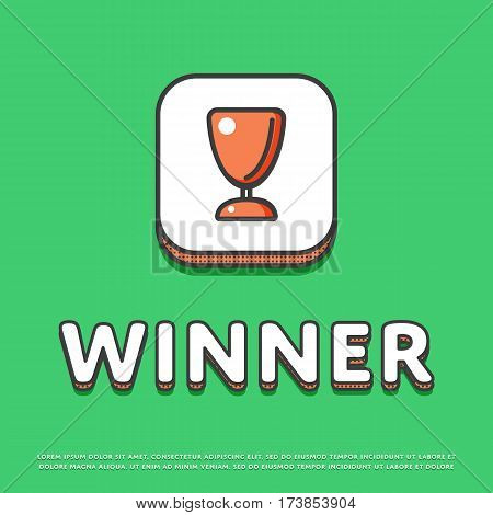 Winner colour square icon isolated vector illustration. Trophy, awards, winner cup symbol. Prize contest cup, champion achievement, win and success, victory prize logo or sign in line design.