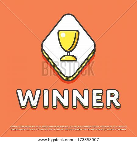 Winner colour rhomb icon isolated vector illustration. Trophy, awards, winner cup symbol. Prize contest cup, champion achievement, win and success, victory prize logo or sign in line design.