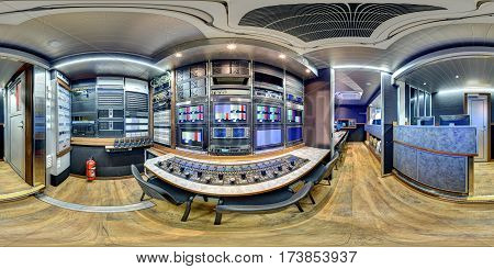 360 panorama inside broadcast mobile television station in 3D view equirectangular ob van station camera control module inside obvan panorama 360 inside obvan equidistant 360 3d pano