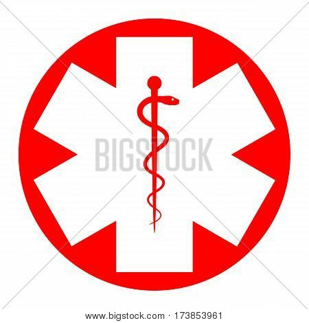 Medical symbol of the Emergency or Star of Life. Vector. White icon in red circle on white background. Isolated.