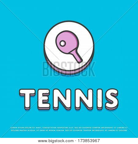 Tennis colour round icon isolated vector illustration. Ping pong paddle with ball, tennis racket symbol. Athletic equipment, sport activity and recreation logo or sign in line design.