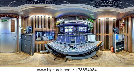 3d panorama inside huge broadcast obvan sound space of audio engineer pano 360 panorama of ob van in equirectangular spherical equidistant projection sound director control module
