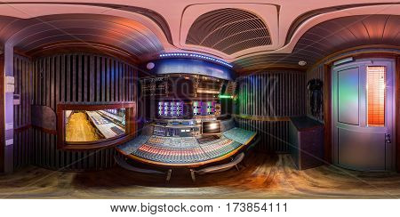 360 panorama of ob van in equirectangular spherical equidistant projection sound director control module panorama inside huge broadcast obvan sound space of audio engineer pano 360
