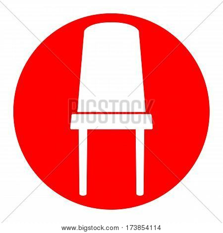 Office chair sign. Vector. White icon in red circle on white background. Isolated.