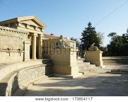 Antique building architecture with statues travel photo