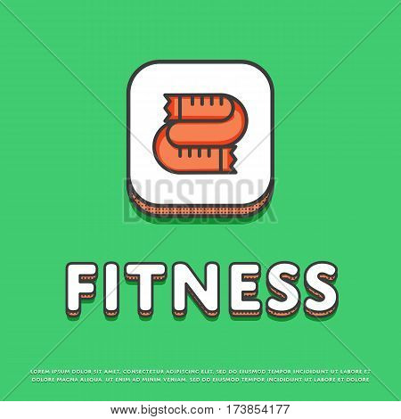 Fitness colour square icon isolated vector illustration. Measuring tape symbol. Fitness lifestyle concept, sports and exercise, caring figure and health logo or sign in line design.