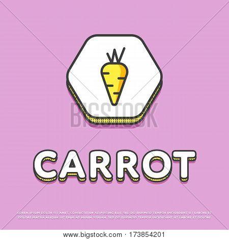 Carrot colour hexagonal icon isolated vector illustration. Fresh carrot vegetable symbol. Organic eco healthy vegetable, vegan food logo or sign in line design.