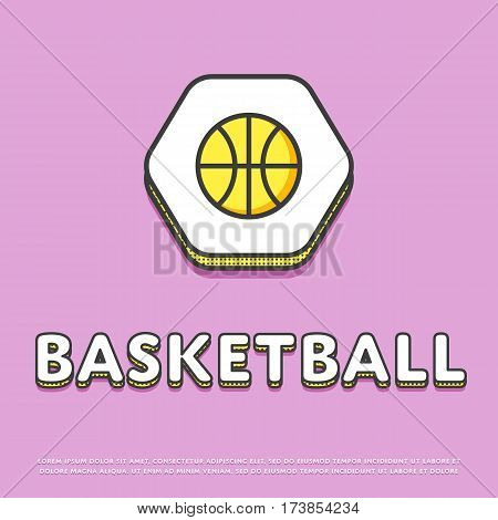 Basketball colour hexagonal icon isolated vector illustration. Basketball ball symbol. Athletic equipment, basketball team, sport activity and recreation game logo or sign in line design.