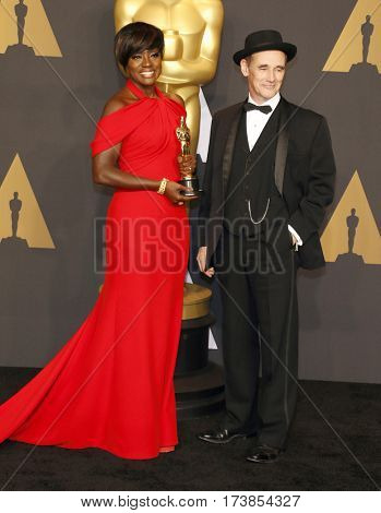 Mark Rylance and Viola Davis at the 89th Annual Academy Awards - Press Room held at the Hollywood and Highland Center in Hollywood, USA on February 26, 2017.