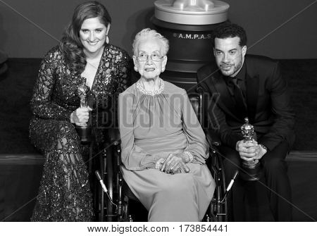 Katherine Johnson, Ezra Edelman and Caroline Waterlow at the 89th Annual Academy Awards - Press Room held at the Hollywood and Highland Center in Hollywood, USA on February 26, 2017.
