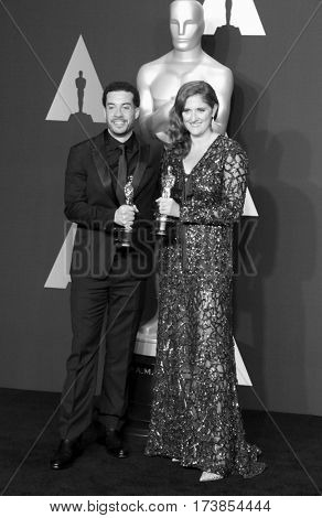 Ezra Edelman and Caroline Waterlow at the 89th Annual Academy Awards - Press Room held at the Hollywood and Highland Center in Hollywood, USA on February 26, 2017.