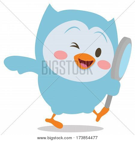 Owl with magnifying vector art collection stock