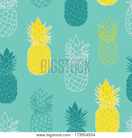 Fresh Blue Green Yellow Pineapples Vector Repeat Seamless Pattrern. Great for fabric, packaging, wallpaper, invitations. Surface pattern design.