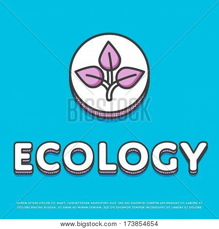 Ecology colour round icon isolated vector illustration. Leaves nature ecological symbol. Eco friendly concept, green recycling, environment protection logo or sign in line design.