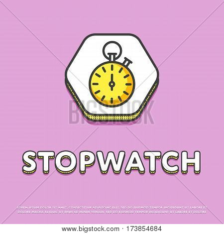 Stopwatch colour hexagonal icon isolated vector illustration. Sport watch timer, stopwatch symbol. Athletic competition, sport equipment, time management logo or sign in line design.