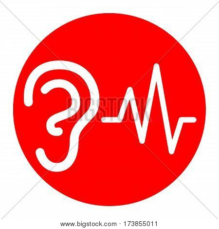 Ear hearing sound sign. Vector. White icon in red circle on white background. Isolated.