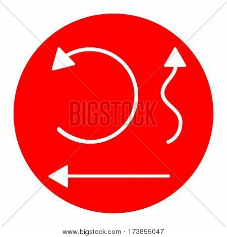 Simple set to Interface Arrows Vector. White icon in red circle on white background. Isolated.