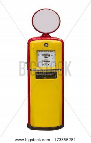 yellow vintage gasoline pump over white backgroundwith clipping path
