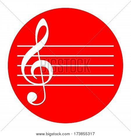 Music violin clef sign. G-clef. Vector. White icon in red circle on white background. Isolated.