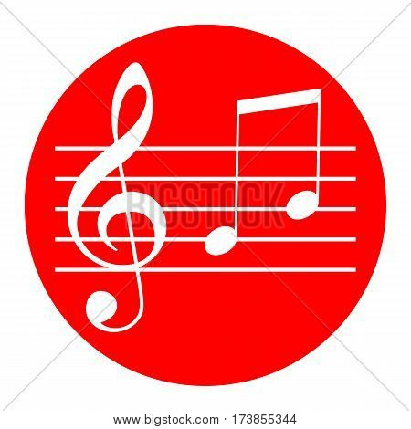 Music violin clef sign. G-clef and notes G, H. Vector. White icon in red circle on white background. Isolated.