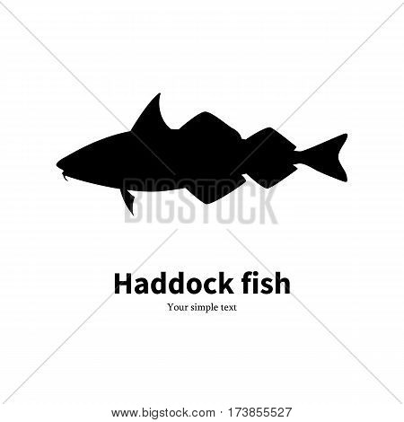 Vector illustration silhouette of haddock fish. Isolated on a white background.