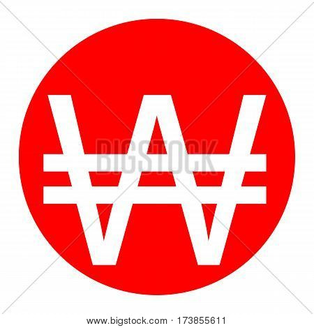 Won sign. Vector. White icon in red circle on white background. Isolated.