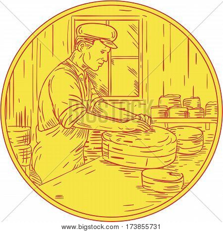 Drawing sketch style illustration of a Swiss cheesemaker making traditional cheese block viewed from the side set inside circle.