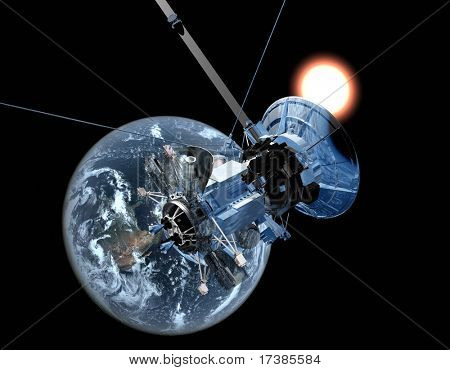 The space ship on a background of globe
