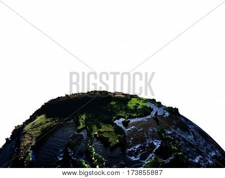 Indochina On Earth At Night With Exaggerated Mountains