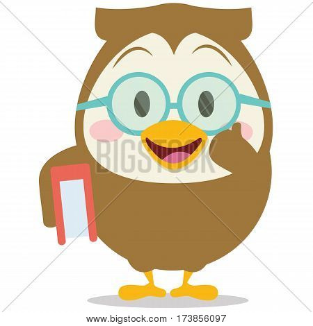 Owl with book character vector collection stock