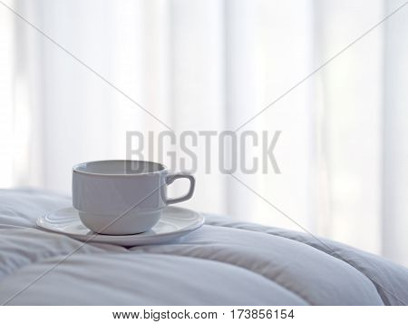 Fresh morning coffee on the bed, so fresh in the morning