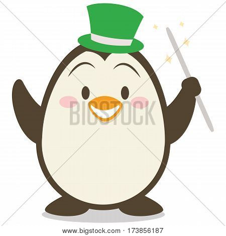 Magician penguin character vector illustration collection stock