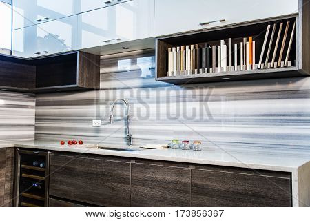 modern kitchen cabinets, white wall kitchen cabinets with open shelves, brown base kitchen cabinet with doors and drawers, cabinet made of wood