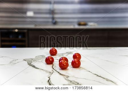 Kitchen marble countertop concept. Marble countertop. Marble stone counterops. Kitchen island made of marble countertop. Modern kitchen countertop.