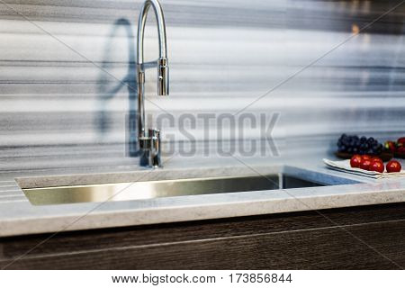 Kitchen sink. Stainless Steel kitchen sink. Single bowl kitchen sink. Under mount steel sink. Kitchen sink with granite countertop. Kitchen sink concept.