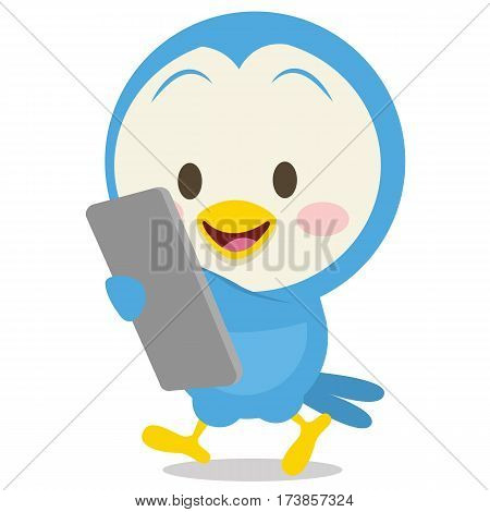 Dove with phone collection stock vector illustration
