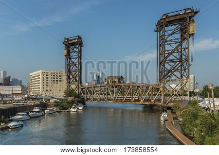 Canal Street Railroad Bridge As Seen From Ping Tom Park In Chicago.